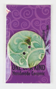 XL Round Button - One Of A Kind - Light Turquoise Crackle Scroll