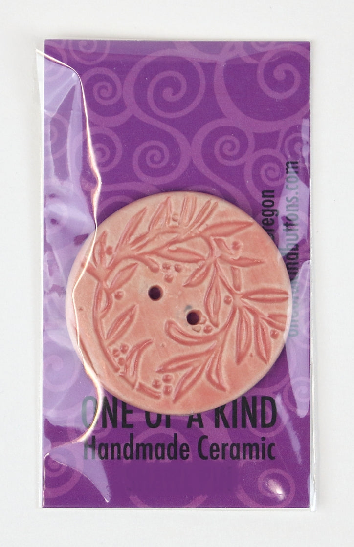 XL Round Button - One Of A Kind - Pink Vine