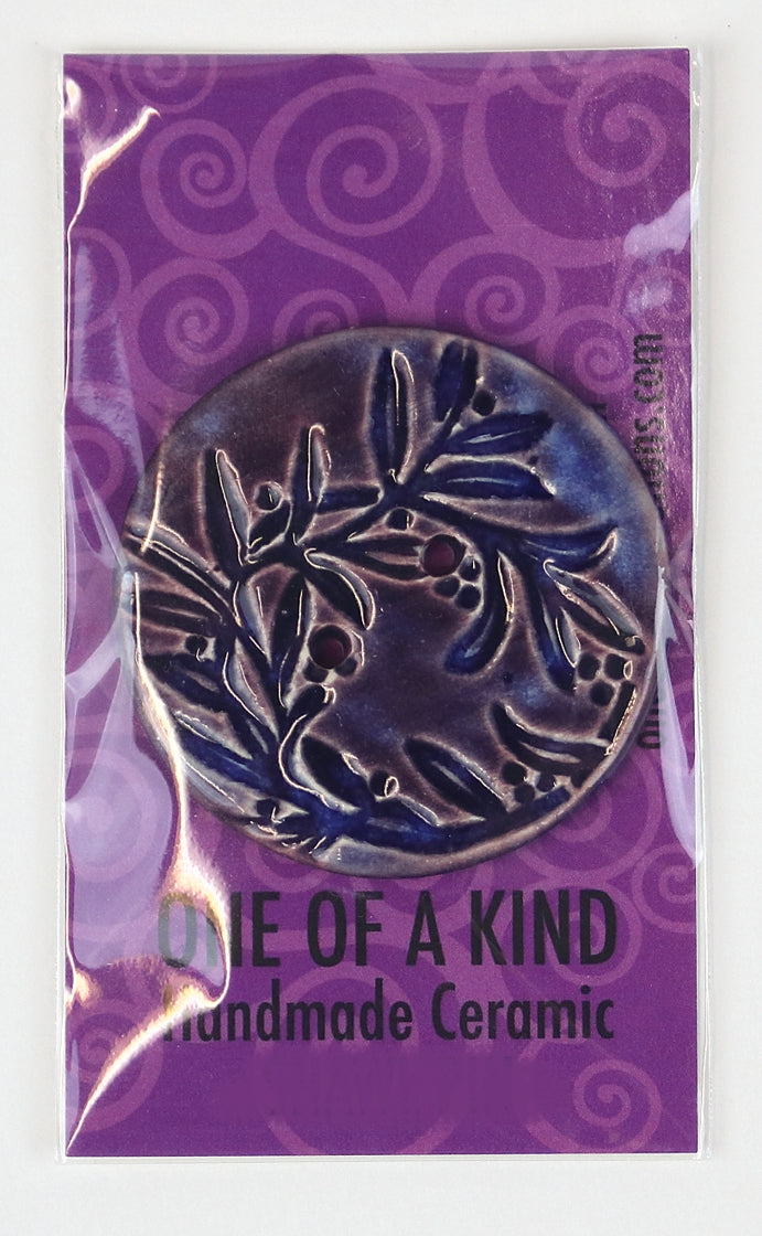 XL Round Button - One Of A Kind - Purple Vine Floral