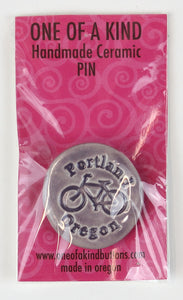 "Ceramic Pin - One Of A Kind - Round Dusty Lavender ""Portland Oregon"" Bicycle"