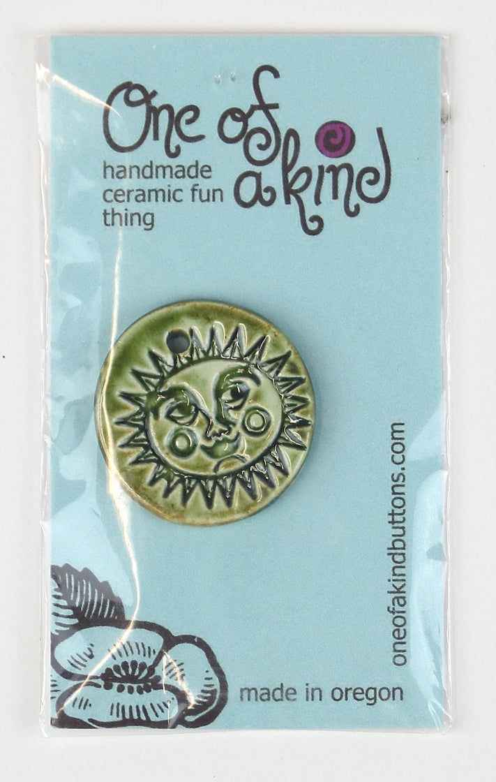 Ceramic Pendant - One Of A Kind - Round Lt. Olive Sun Face