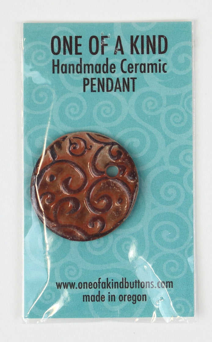 Ceramic Pendant - One Of A Kind - Round Terracotta Scroll