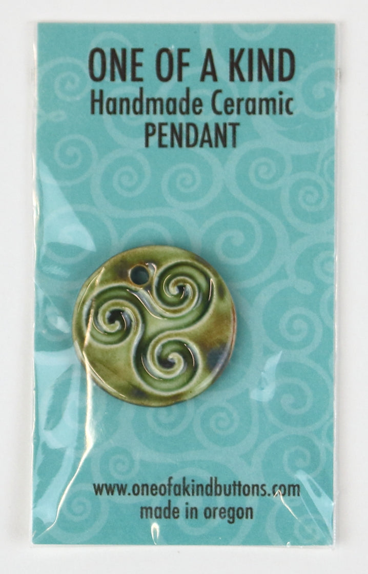 Ceramic Pendant - One Of A Kind - Round Olive Celtic Triskelion