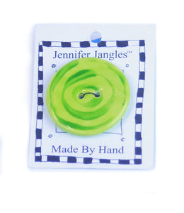 Button: Hand Made Ceramic Novelty - Round Lime w/green circles Large