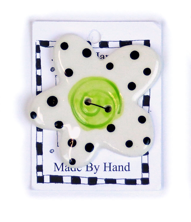Button: Hand Made Ceramic Novelty - Flower white w/black dots green center Large