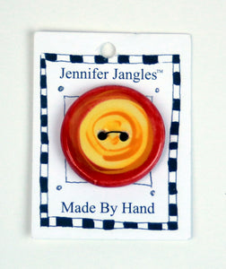 Button: Hand Made Ceramic Novelty - Round Yellow w/Orange/Red circlesLarge