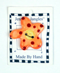 Button: Hand Made Ceramic Novelty - Flower Lt Orange w/Red dots and yellow center small