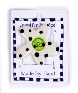Button: Hand Made Ceramic Novelty - Flower white w/black dots green center small