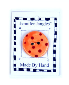 Button: Hand Made Ceramic Novelty - Round Orange w/Red dots small