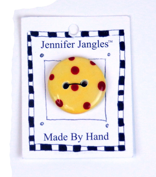 Button: Hand Made Ceramic Novelty - Round Yellow w/red dots small