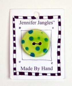 Button: Hand Made Ceramic Novelty - Flower Lime w/turquoise dots and orange center small
