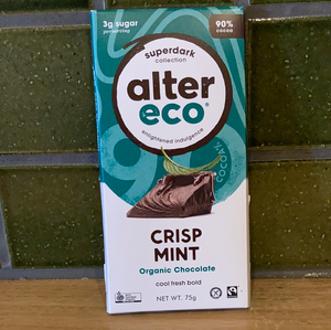 Alter Eco Chocolate Block - Superdark Crisp Mint 75g