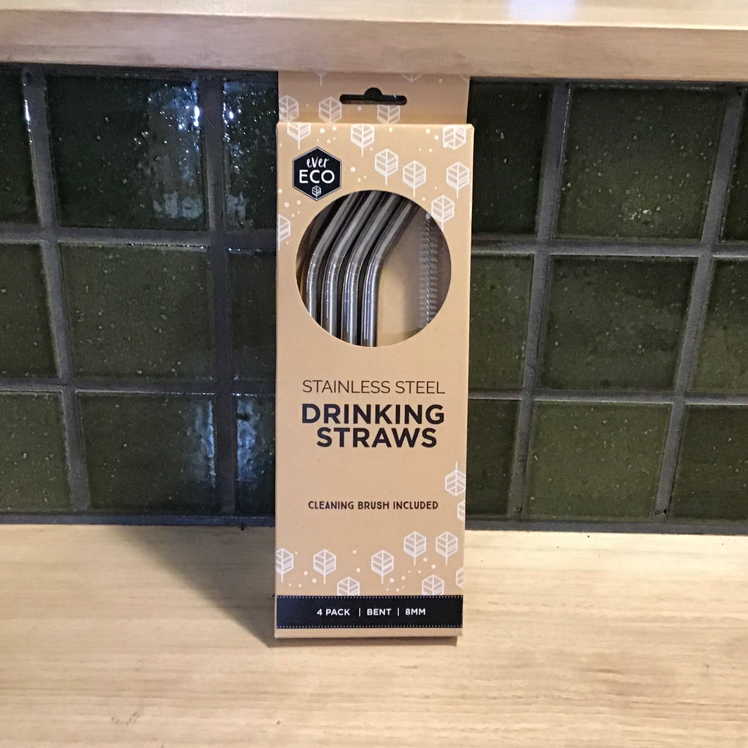 Ever Eco Straws 4Pack+Brush Stainless Steel Bent