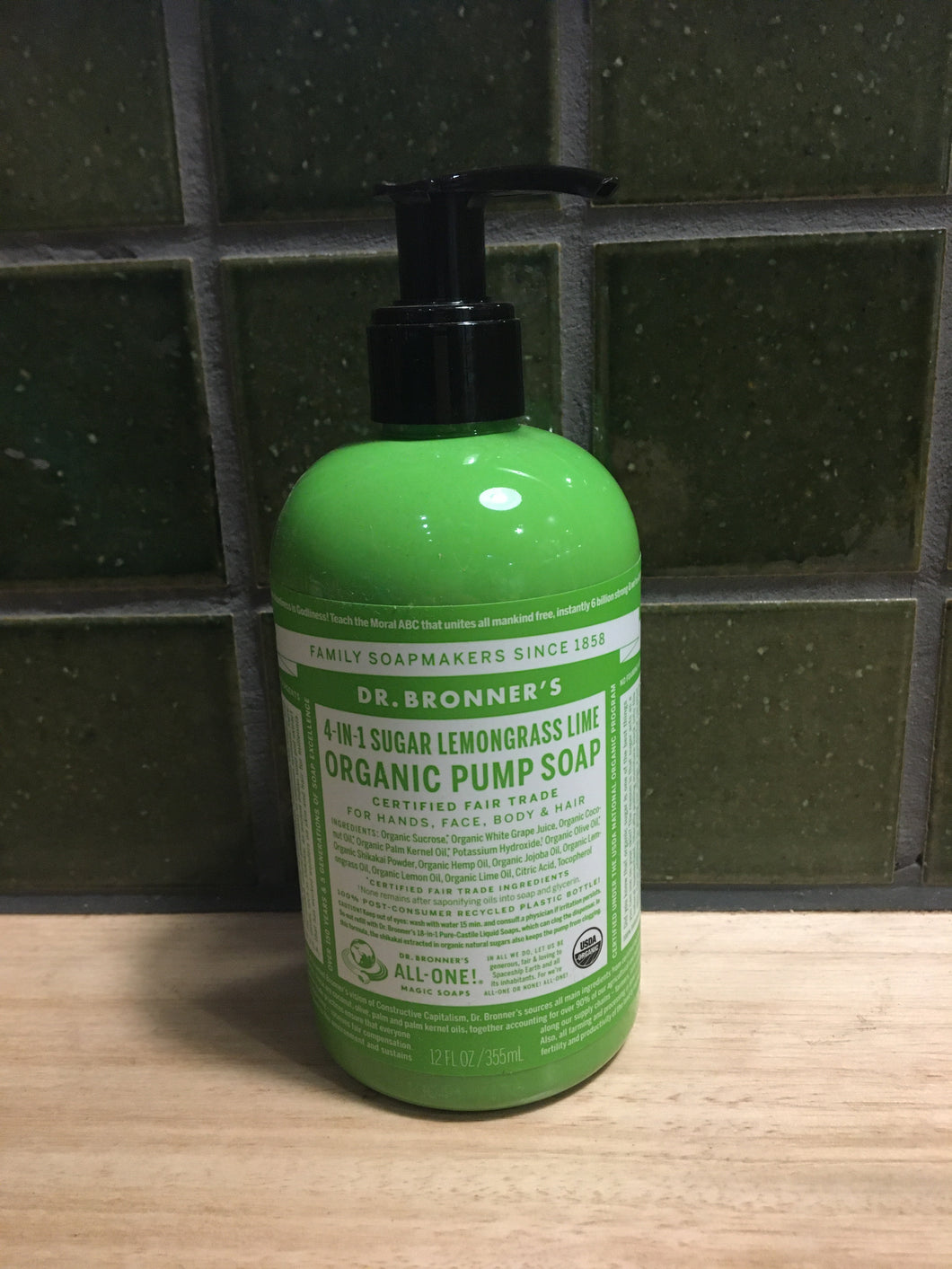 Dr Bronner's 4-in-1 Pump Soap - L/Grass Lime 355ml