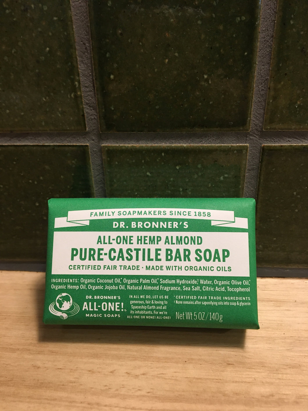 Dr Bronner's Pure-Castille Soap Bar - Hemp Almond 140g