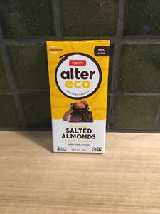 Alter Eco Chocolate Block - Deep Dark Salted Almonds 80g
