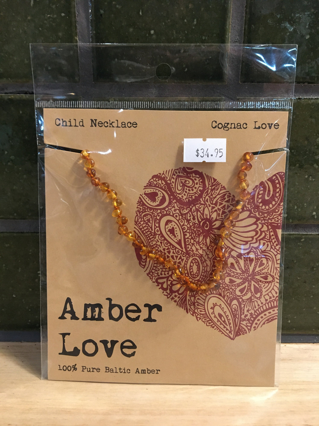 Amber Love Necklace - Cognac Love - Child