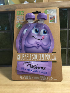 Little Mashies Reusable Squeeze Pouch Purple Twinpack