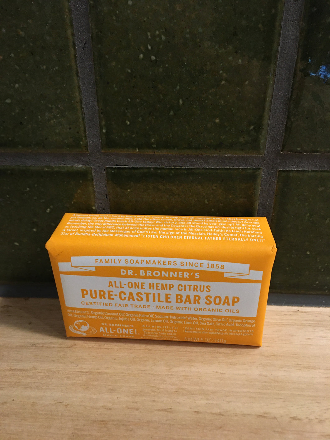 Dr Bronner's Pure-Castille Soap Bar - Hemp Citrus 140g