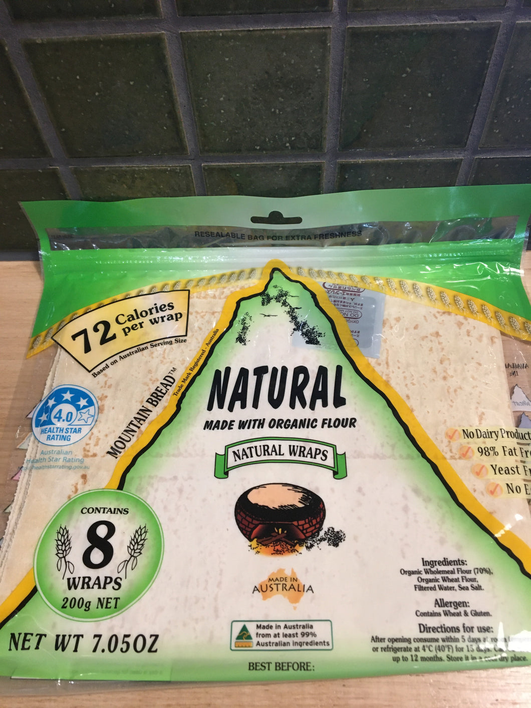 Mountain Bread Natural Wraps 8 pack