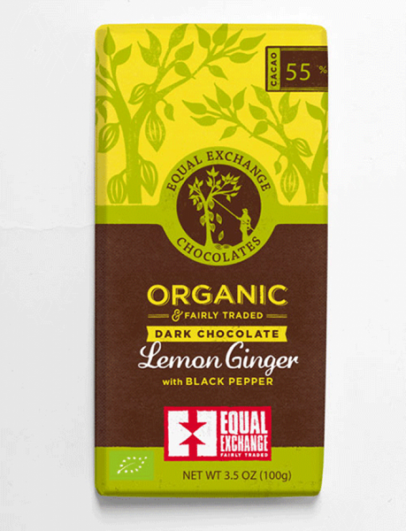 Equal Exchange Organic Dark Chocolate Lemon, Ginger and Pepper 100G