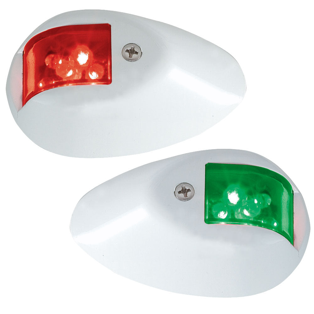 Perko LED Side Lights - Red-Green - 12V - White Epoxy Coated Housing