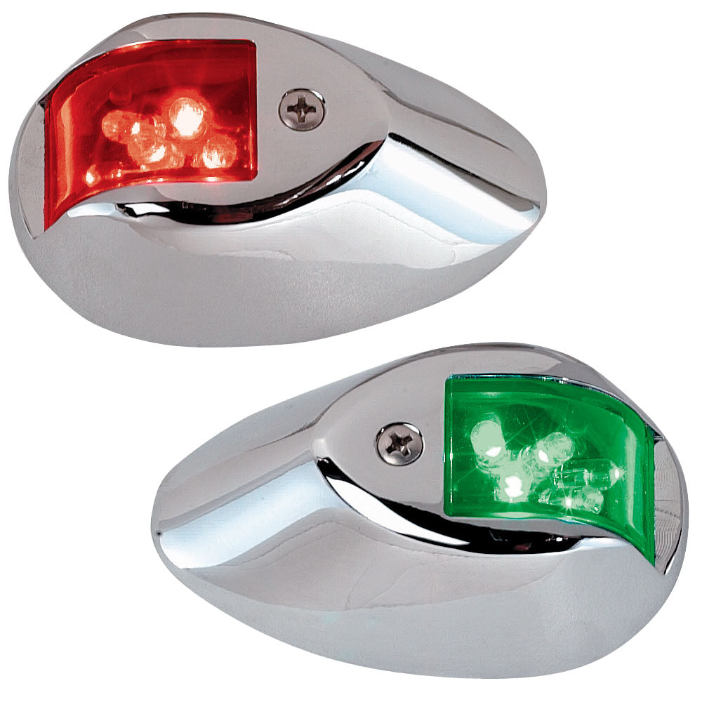 Perko LED Side Lights - Red-Green - 24V - Chrome Plated Housing