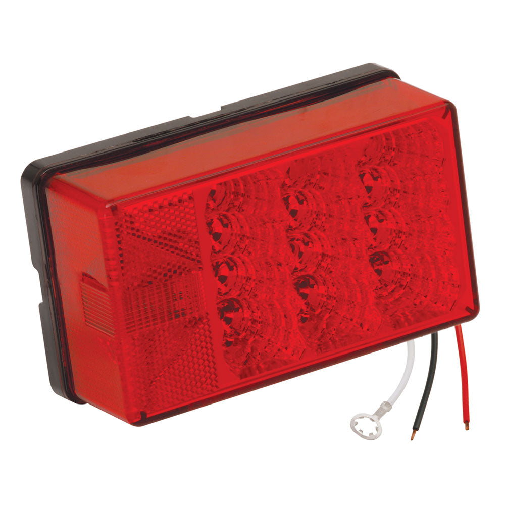 "Wesbar 4"" x 6"" Waterproof LED 8-Function, Left-Roadside w-3 Wire 90 deg Pigtail Trailer Light"