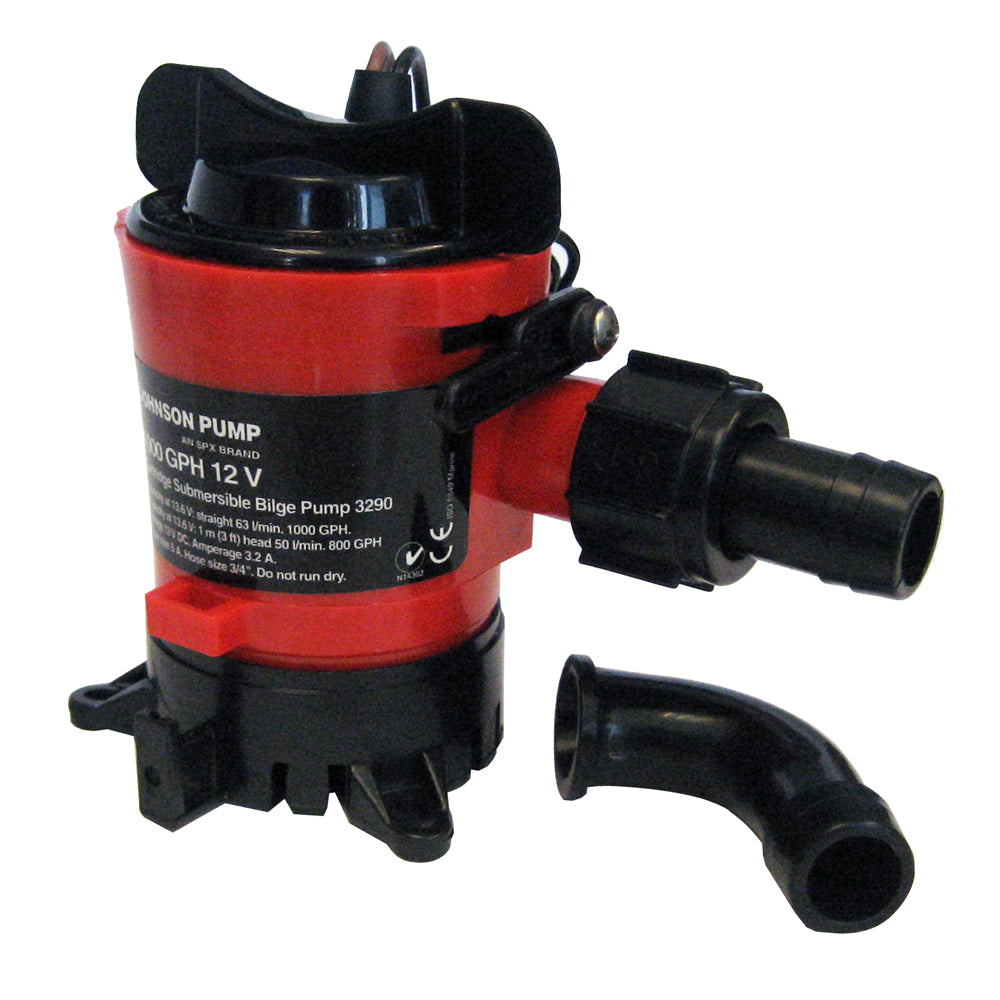 "Johnson Pump 1000 GPH Bilge Pump 3-4"" 12V Dura Ports"