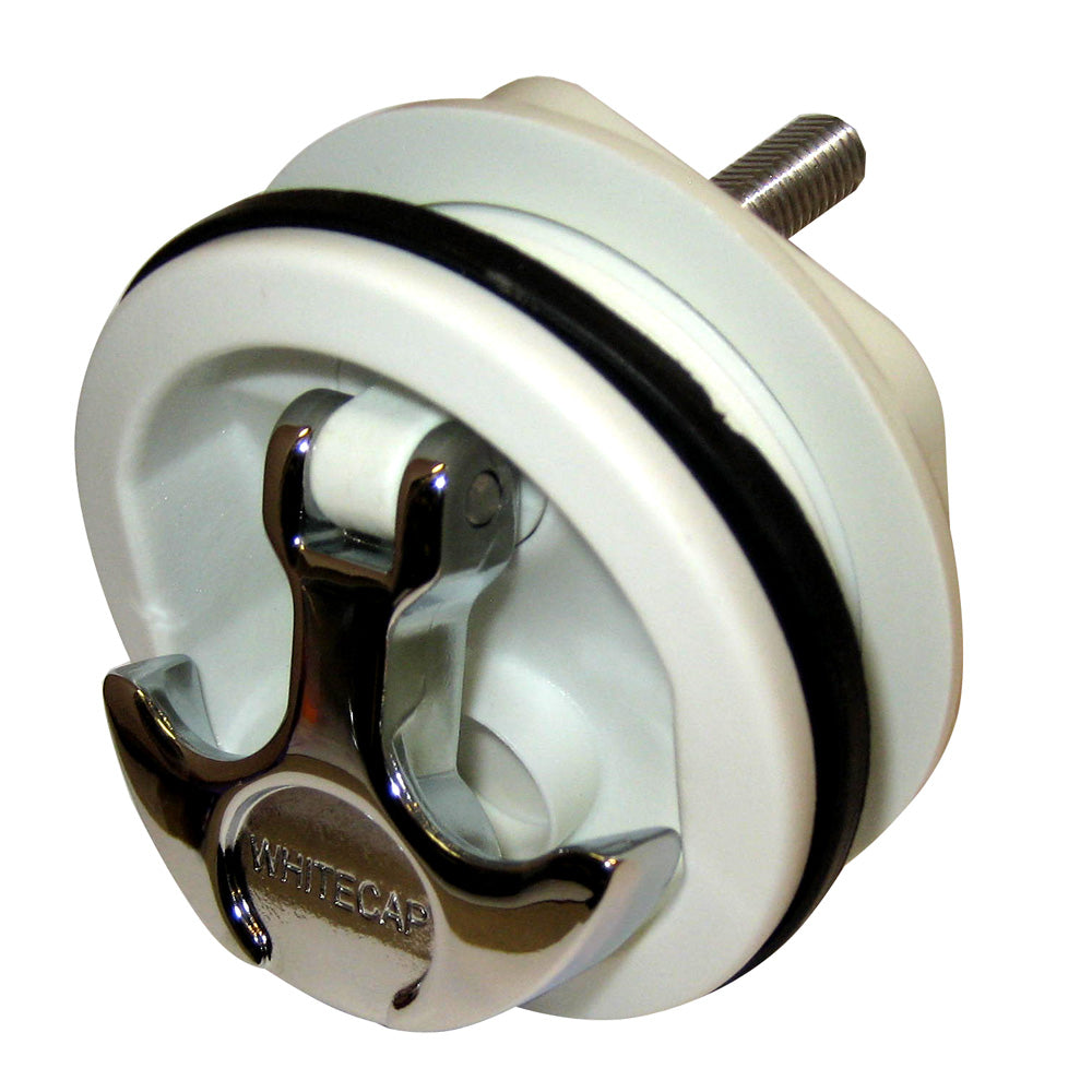 Whitecap T-Handle Latch - Chrome Plated Zamac-White Nylon - No Lock - Freshwater Use Only