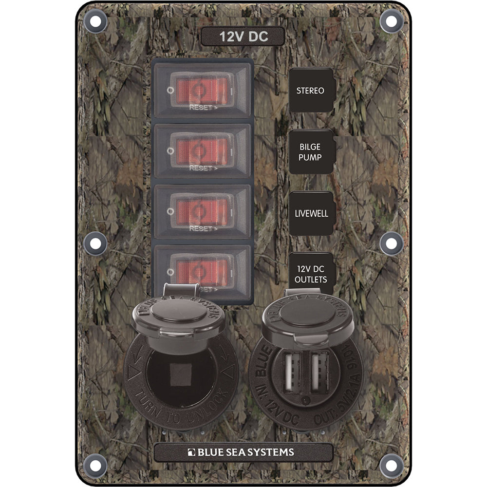 Blue Sea 4324 Circuit Breaker Switch Panel 4 Postion - Camo w-12V Socket & Dual USB
