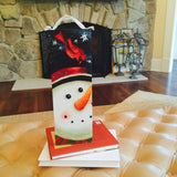 Snowman With Cardinal bird Lighted Canvas Wall Art Print