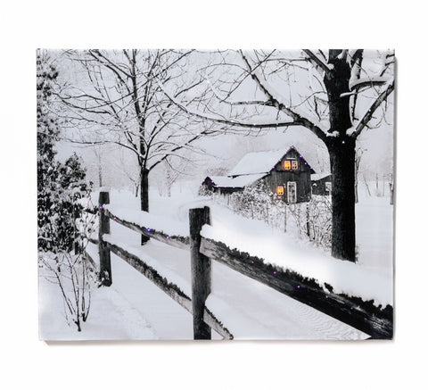 A Winter's Night with Wood Cabin Lighted Canvas Sign Wall Art