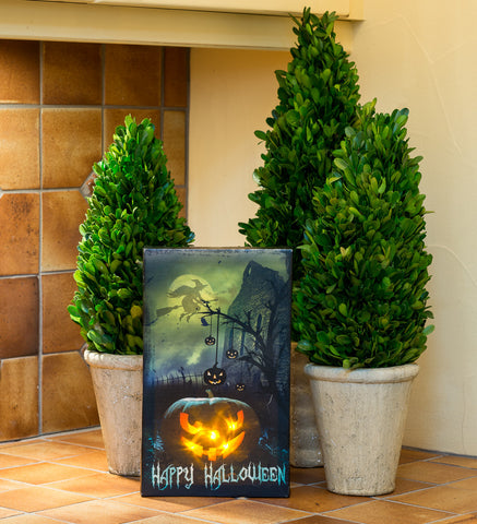 Happy Halloween Scary Jack-O-Lantern Lighted Sign Canvas Wall Art