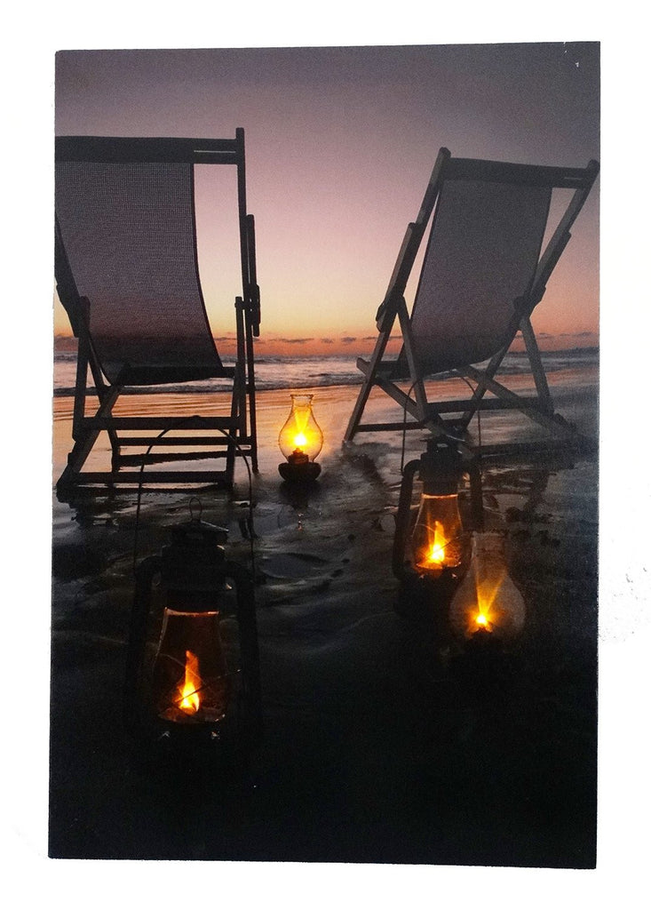 Beach Chairs at Sunset On The Beach Lighted Sign Canvas Wall Art