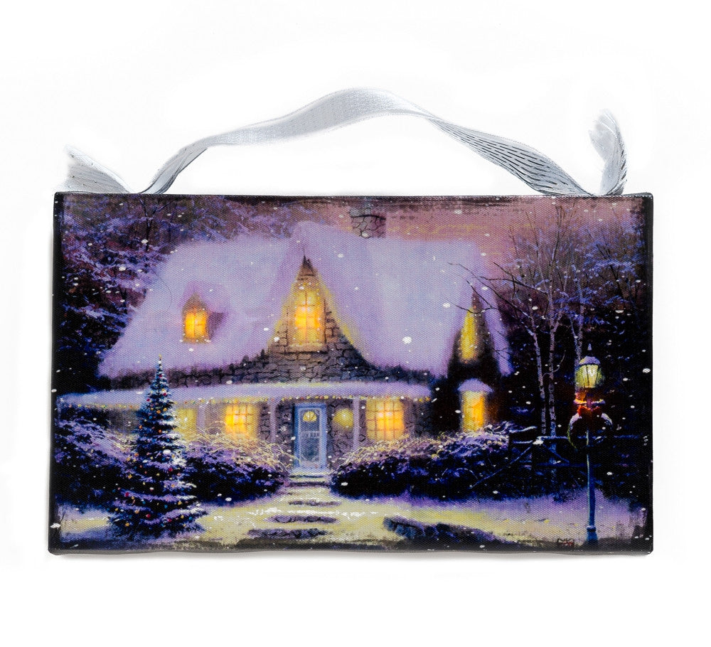 Winter Wonderland Cottage Lighted Canvas Wall Art