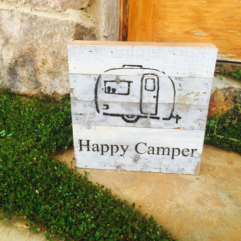 Happy Camper Print Reclaimed Barn Wood Pallet Shadow Box Sign