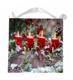 Christmas Holly, Red Candles, Garland, Acorns Lighted Canvas Sign Wall Art
