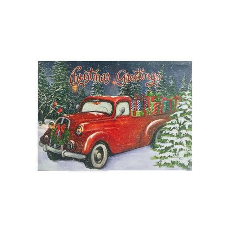 Old Antique Classic Red Pickup Truck Lighted Canvas Wall Art Print