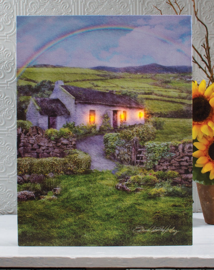 Irish Cottage Lighted Canvas Wall Art