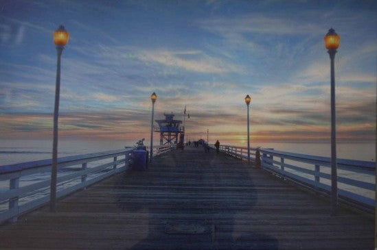 White Pier Nautical Lighted Canvas Wall Art