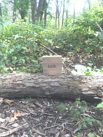 Faith Print Reclaimed Barn Wood Pallet Shadow Box Sign