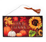 Give Thanks Thanksgiving Fall Lighted Wood Shadow Box Sign