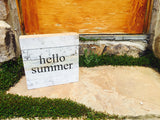Hello Summer Print Reclaimed Barn Wood Pallet Shadow Box Sign