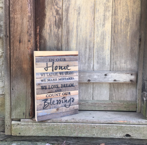 In Our Home Print Reclaimed Barn Wood Pallet Shadow Box Sign