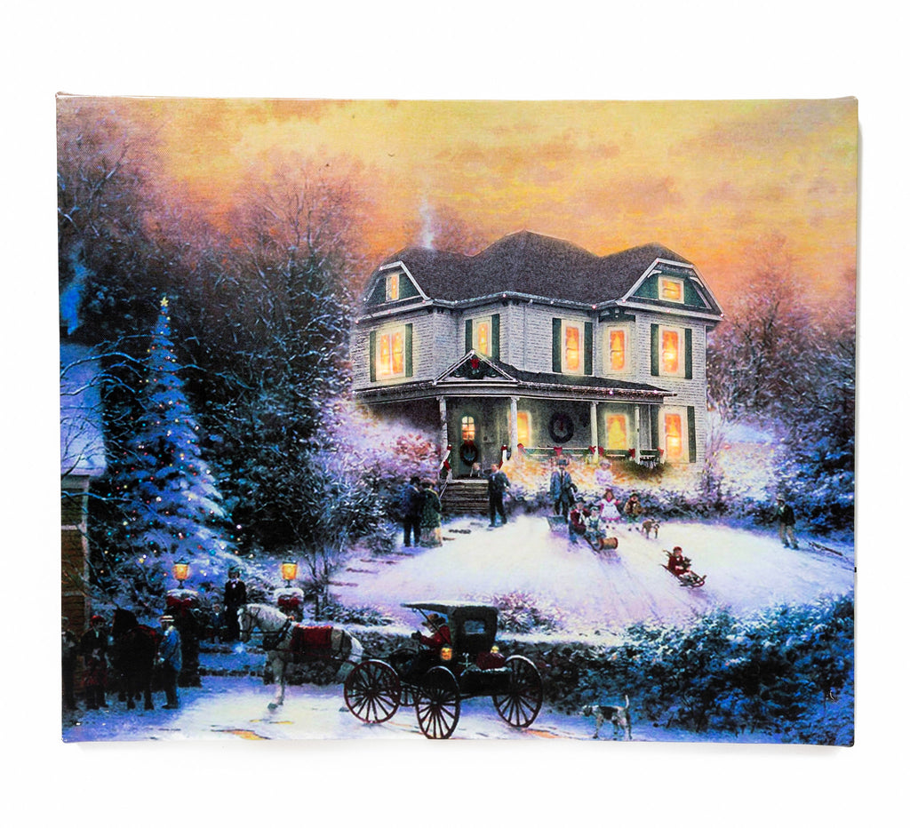 Vintage Victorian Home Christmas Lighted Sign Canvas Wall Art Print