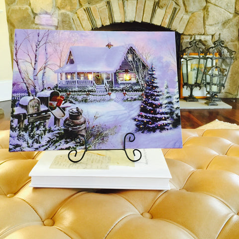Winter Snow Scene Lighted Canvas Wall Art