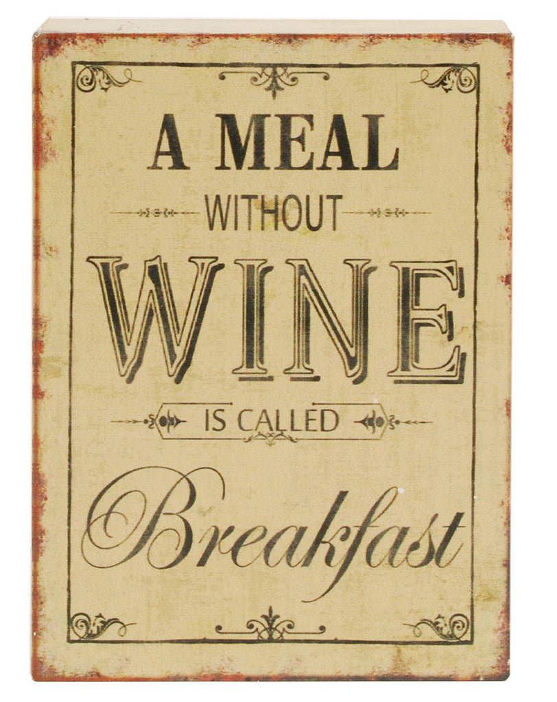 Meal Wine Breakfast Wood Wall Box Sign