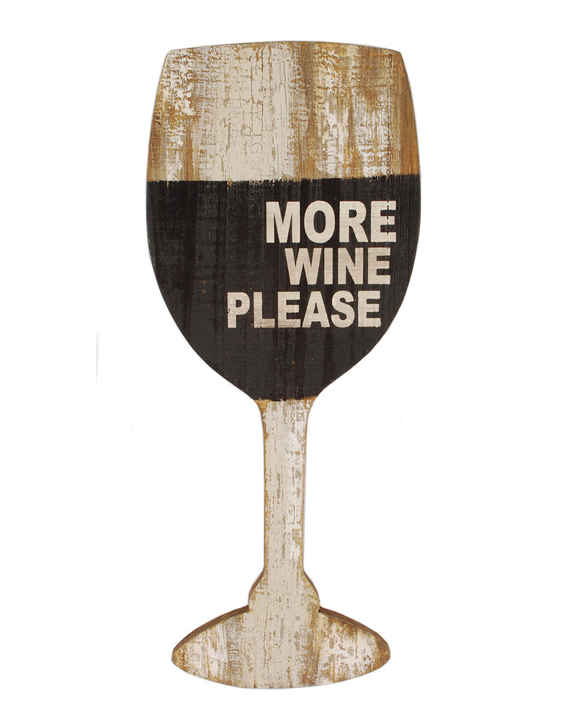 More Wine Please Glass Wood Wall Art