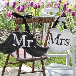 Mr. & Mrs. Mustache and Lips Wood Sign